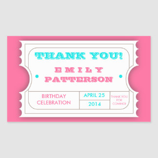 Pink Turquoise Carnival Thank You Ticket Sticker