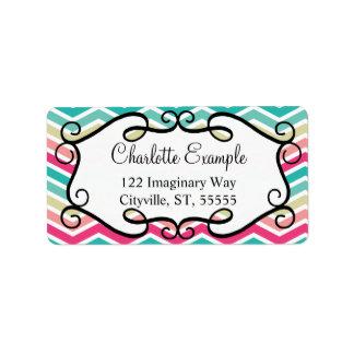 Pink Turquoise Chevron Custom Label