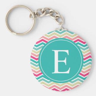 Pink Turquoise Chevron Monogram Basic Round Button Key Ring