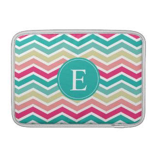 Pink Turquoise Chevron Monogram MacBook Sleeve