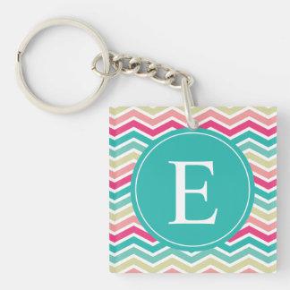 Pink Turquoise Chevron Monogram Single-Sided Square Acrylic Key Ring