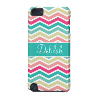 Pink Turquoise Chevron Name iPod Touch 5G Case