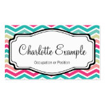 Pink Turquoise Chevron Personal Business Card