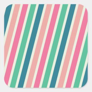 Pink Turquoise Diagonal Stripe Stickers