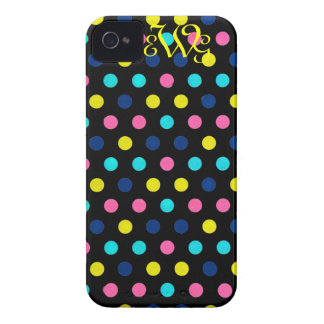 Pink & Turquoise Dots on Black with Monogram Case-Mate iPhone 4 Cases