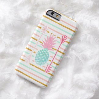 Pink Turquoise Exotic Pineapple Stripes Arrows Barely There iPhone 6 Case