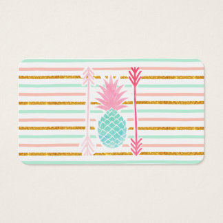 Pink Turquoise Exotic Pineapple Stripes Arrows Business Card
