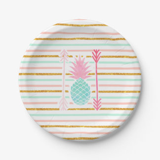 Pink Turquoise Exotic Pineapple Stripes Arrows Paper Plate
