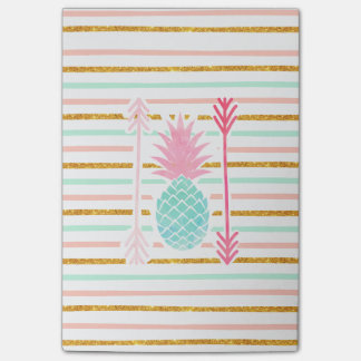 Pink Turquoise Exotic Pineapple Stripes Arrows Post-it Notes