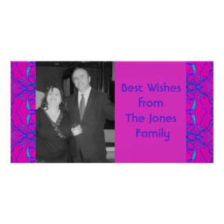 pink turquoise fractal customised photo card