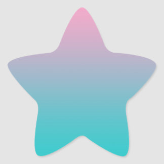 Pink & Turquoise Ombre Star Sticker