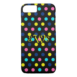 Pink  Turquoise Polka Dots with Monogra iPhone 8/7 Case