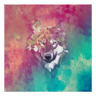 Pink Turquoise Watercolor Artistic Abstract Wolf Poster