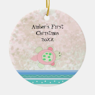 Pink Turtle Baby First Christmas Christmas Ornament