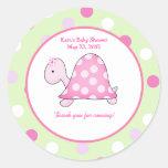 Pink Turtle Green/Pink Dot Custom Favour Sticker