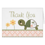 Pink Turtle in Diapers Baby Shower Thank You Note Note Card