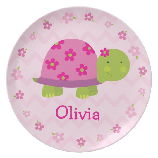 Pink Turtle Personalised Melamine Plate for Kids