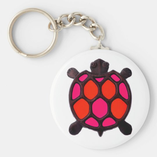 Pink Turtles Design Basic Round Button Key Ring