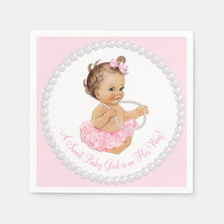 Pink Tutu Ballerina Pearl Baby Shower Disposable Serviette