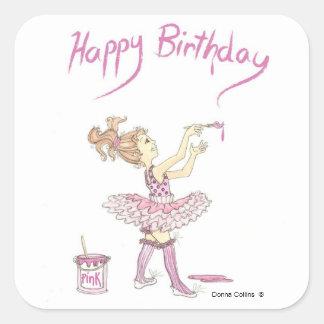 Pink tutu Birthday Sticker