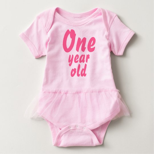 Pink Tutu Cute Baby Girl One Year Old Romper Baby Bodysuit