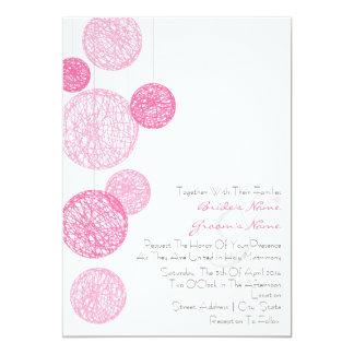 Pink Twine Globes Wedding Invitation