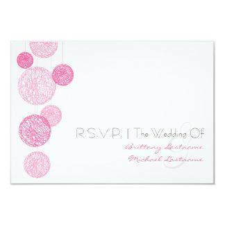 Pink Twine Globes Wedding R.S.V.P. 3.5x5 Paper Invitation Card