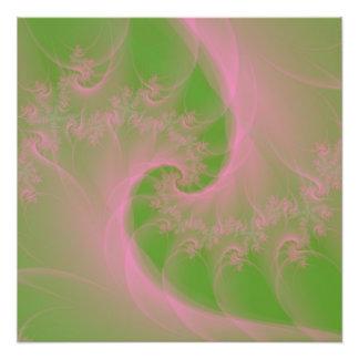 Pink Twist on Green Photo Print