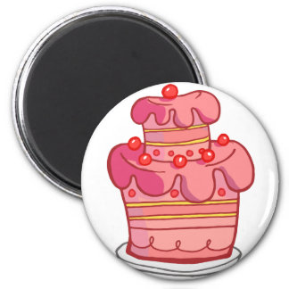 Pink Two Tiered Cake 6 Cm Round Magnet