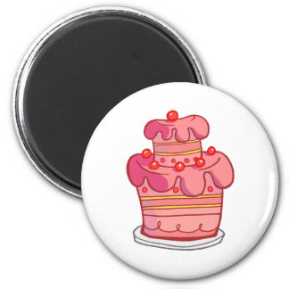 Pink Two Tiered Cake Magnets