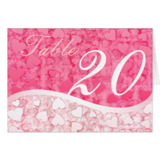 Pink two tone hearts Table Number Cards