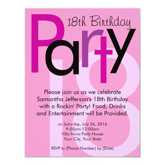 Pink Typeface 18th Birthday Party Invitation