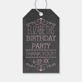 Pink Typography Chalkboard Look- Birthday Party Gift Tags