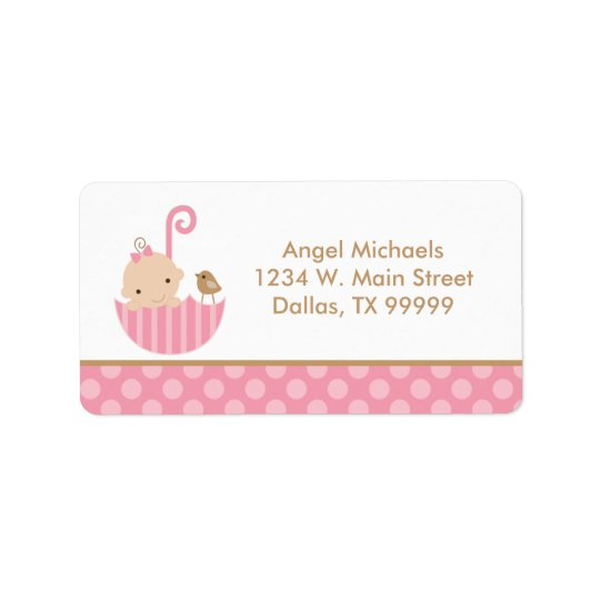 Pink Umbrella Baby Girl Shower Address Labels