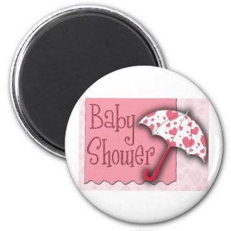 PInk Umbrella Baby Shower 6 Cm Round Magnet