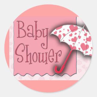 PInk Umbrella Baby Shower - Customized Round Sticker