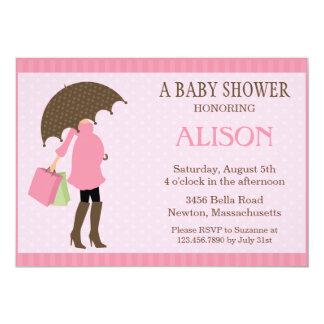 Pink Umbrella Baby Shower Invite