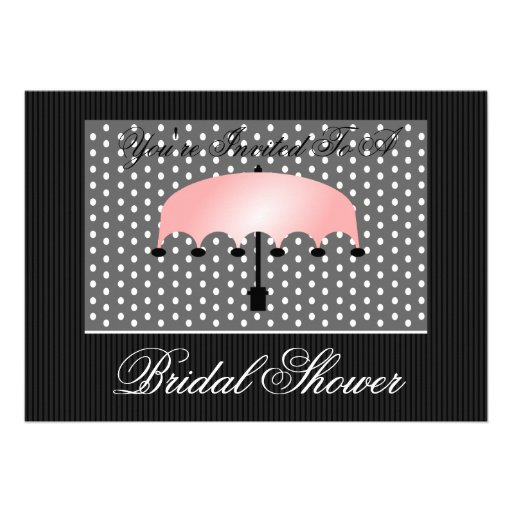 Pink Umbrella Bridal or Baby Shower Invitation