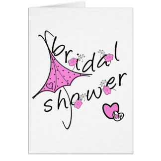 Pink Umbrella Bridal Shower Card