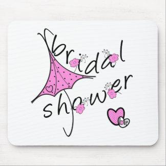 Pink Umbrella Bridal Shower Mouse Pad
