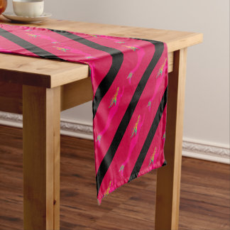pink underwater mermaids diagonal short table runner