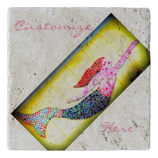 pink underwater mosaic mermaid trivet