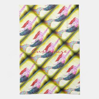 pink underwater mosaic mermaids swimming tea towel