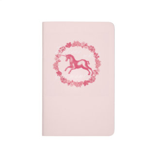 Pink unicorn and flowers journal