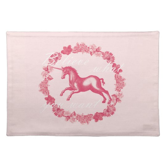 Pink unicorn and flowers placemat