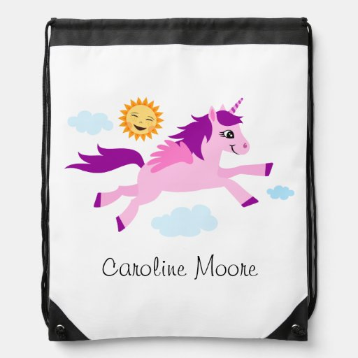 Pink unicorn and happy sun personalized name drawstring bags