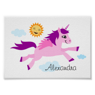 Pink unicorn and happy sun, wall art for children poster