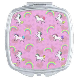Pink Unicorn And Rainbows Compact Mirror