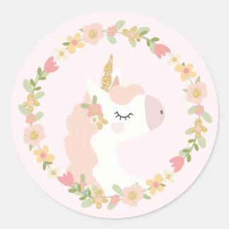 Pink Unicorn Birthday Party Stickers