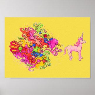 Pink Unicorn Fart Poster